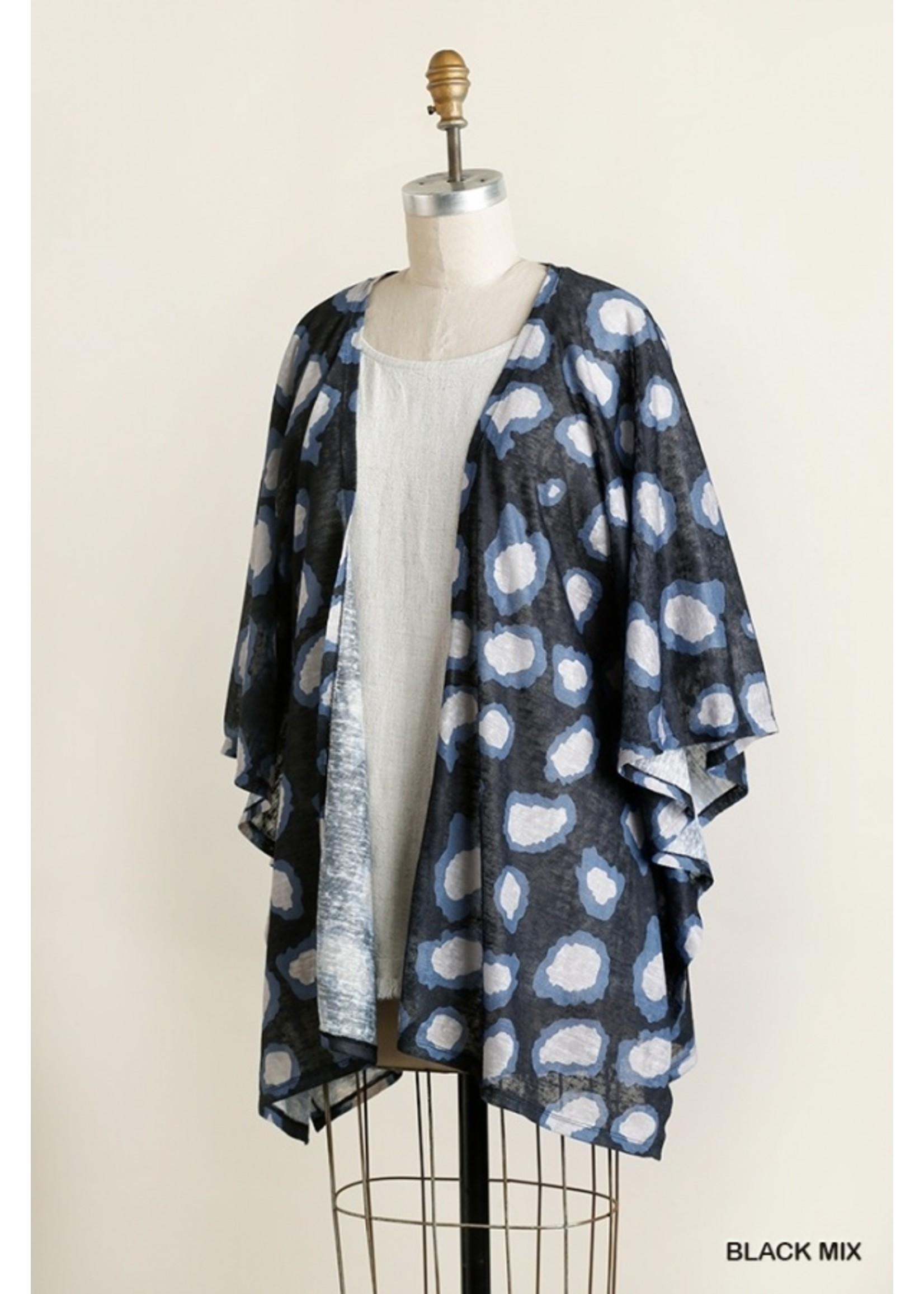 Umgee Animal Print 3/4 Sleeve Open Front Kimono