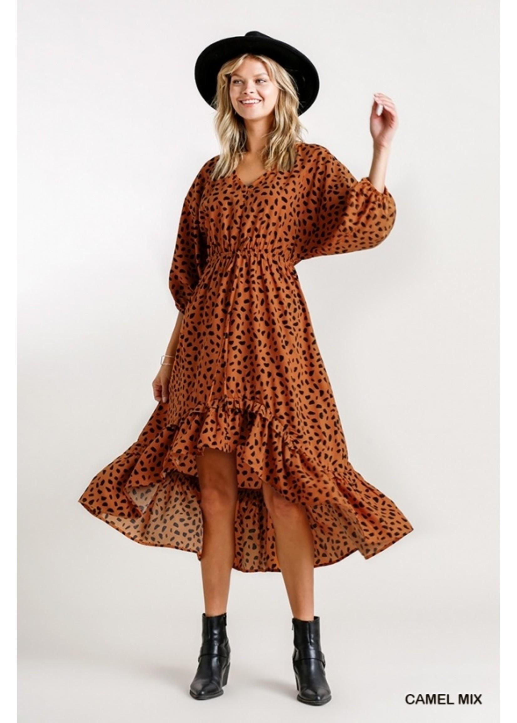 Umgee Dalmatian Print High Low Midi Dress
