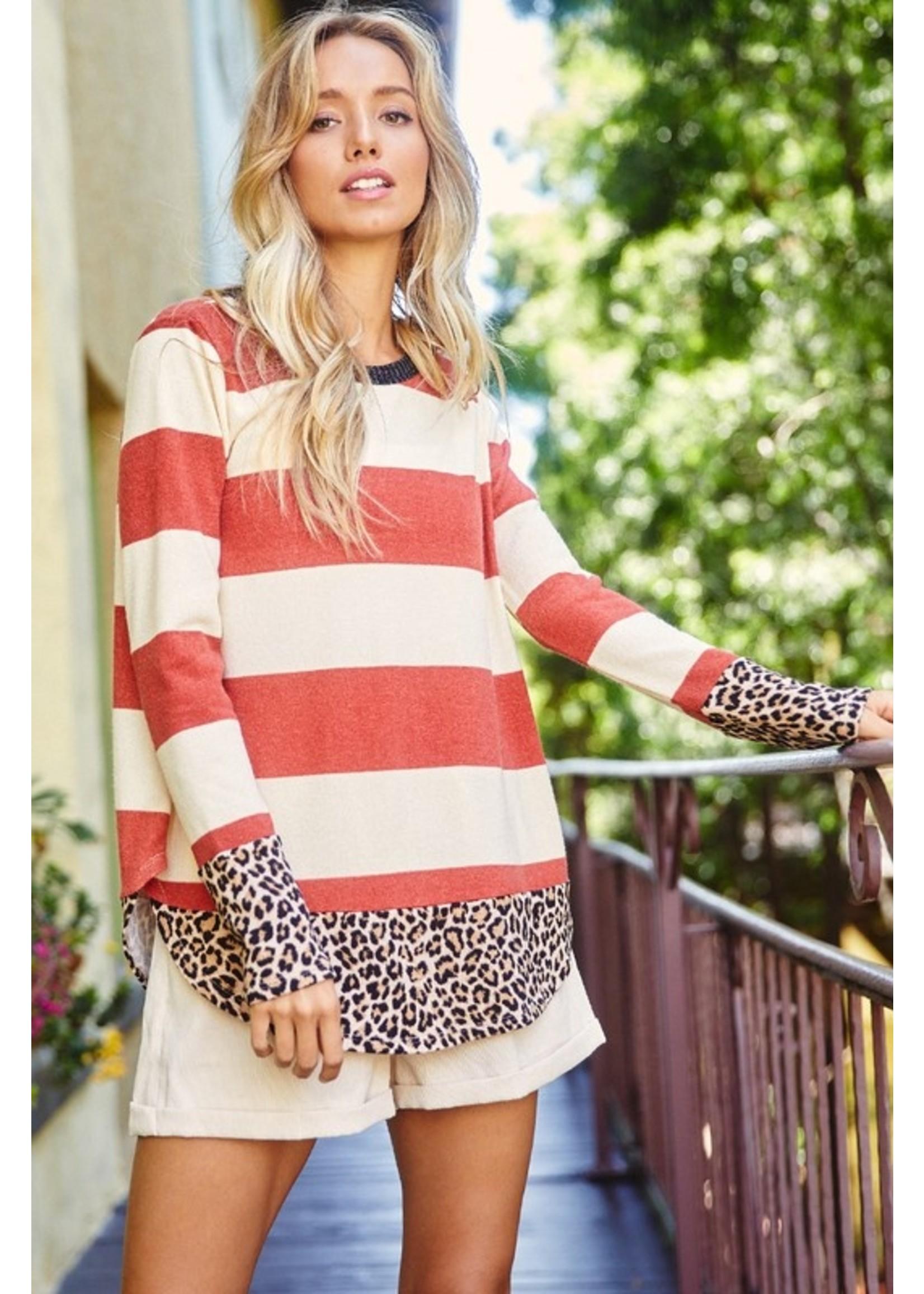 Ces Femme Stripe Print Casual Top