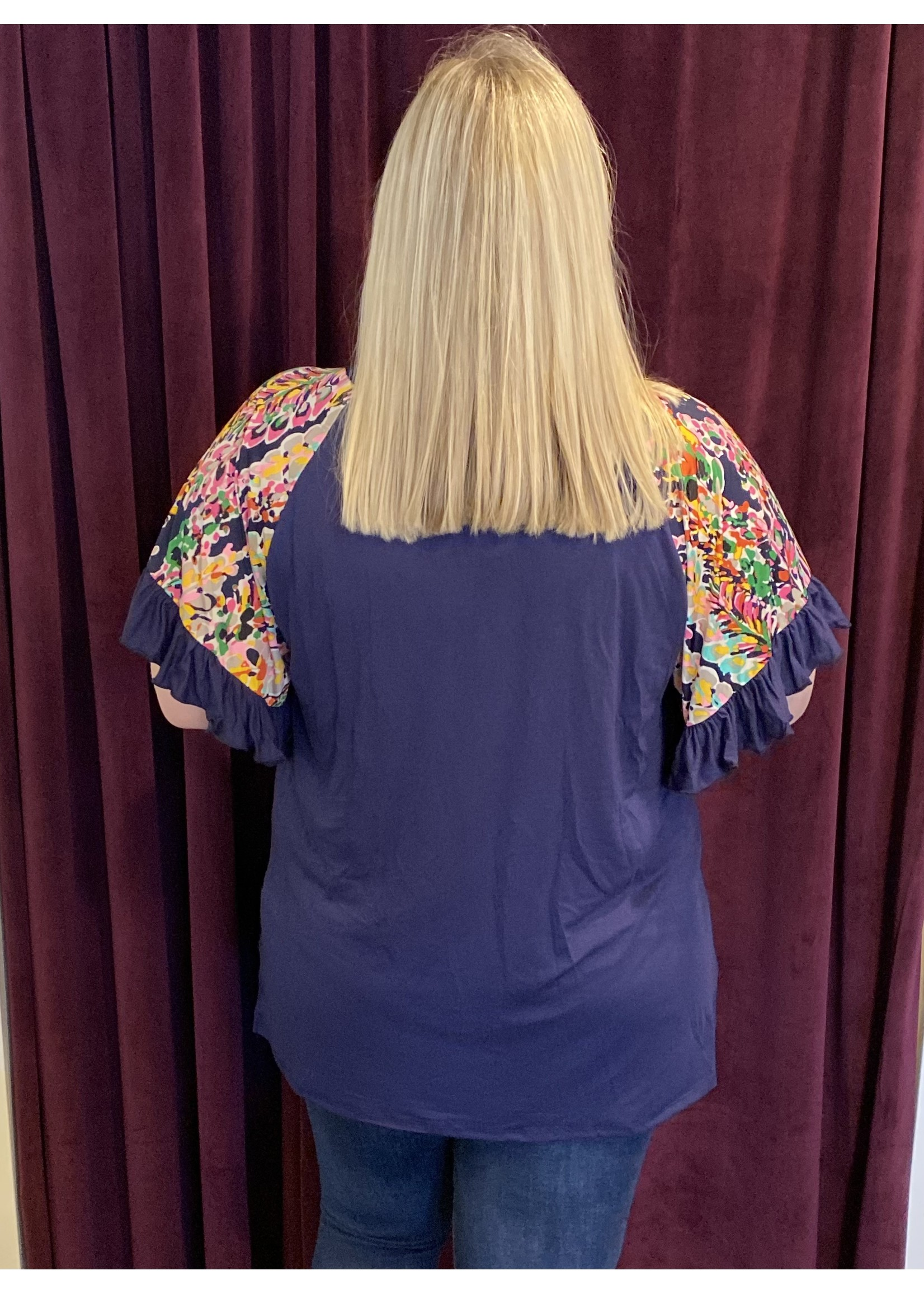 Floral Bell Sleeve Top - Plus