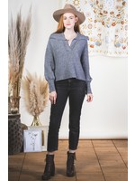 Loverichie V-neck Collared Ribbed Casual Sweater
