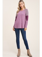 Staccato Round Neck, Long Color Blocked Sleeve