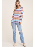 Staccato Multi Stripe Long Sleeve Top