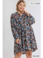 Umgee Plus Floral Print Metallic Threading Split Neck Long Puff Sleeve Dress with No Lining