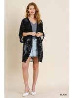 Umgee Floral Lace Open Front Kimono with Waist Tie