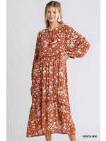 Umgee Floral Print Long Sleeve Front Tassel Tie Ruffle Trimmed Details Maxi Dress with No Lining
