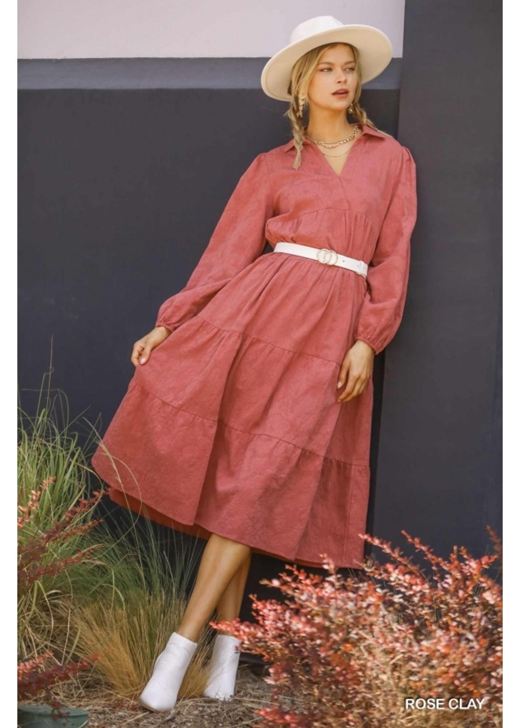 Umgee Textured Long Sleeve Collar Split Neck Tiered Maxi Dress