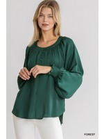 Umgee Washed Satin Round Neck Button Front Long Puff Sleeve Top with Smocked Cuff Detail