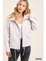 Staccato Collared Long Sleeve Solid Jacket