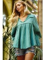 Ces Femme Cotton gauze fabric solid babydoll top