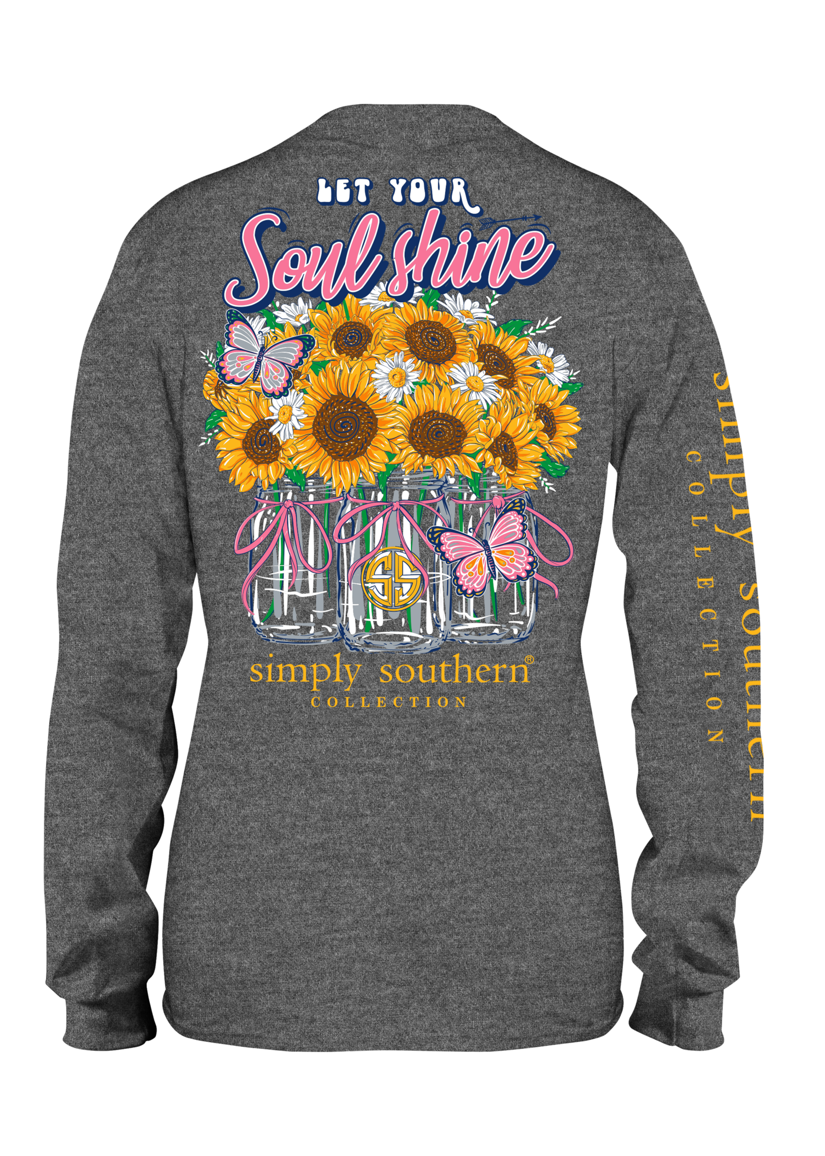 Simply Southern Collection Let Your Soul Shine Long Sleeve T-Shirt - Dark Heather Gray