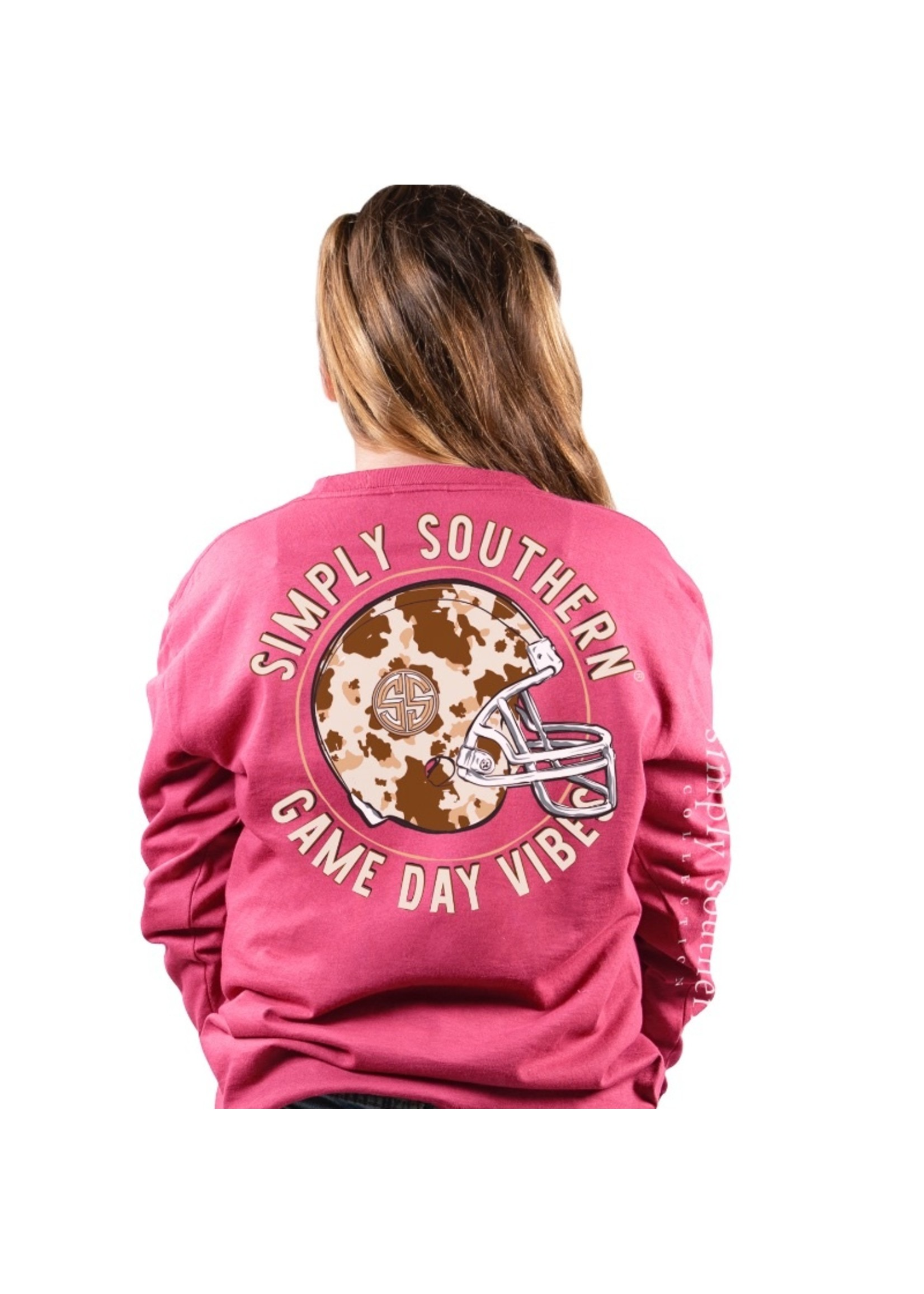 Simply Southern Collection Youth Game Day Vibes Long Sleeve T-Shirt - Punch