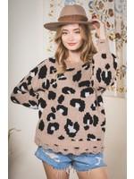 New In Animal Printed Destroyed Hem Sweater