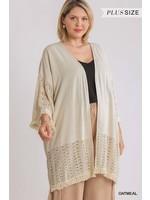 Umgee Linen Blend Open Front Kimono - PLUS