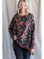 Jodifl Brushed Leopard Print Sweater Top