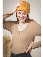 Solid ribbed knit slit neckline bodysuit