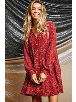 Ces Femme Dotted Tiered Long Sleeve Button Dress