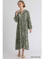 Umgee Animal Print Long Sleeve Maxi Dress