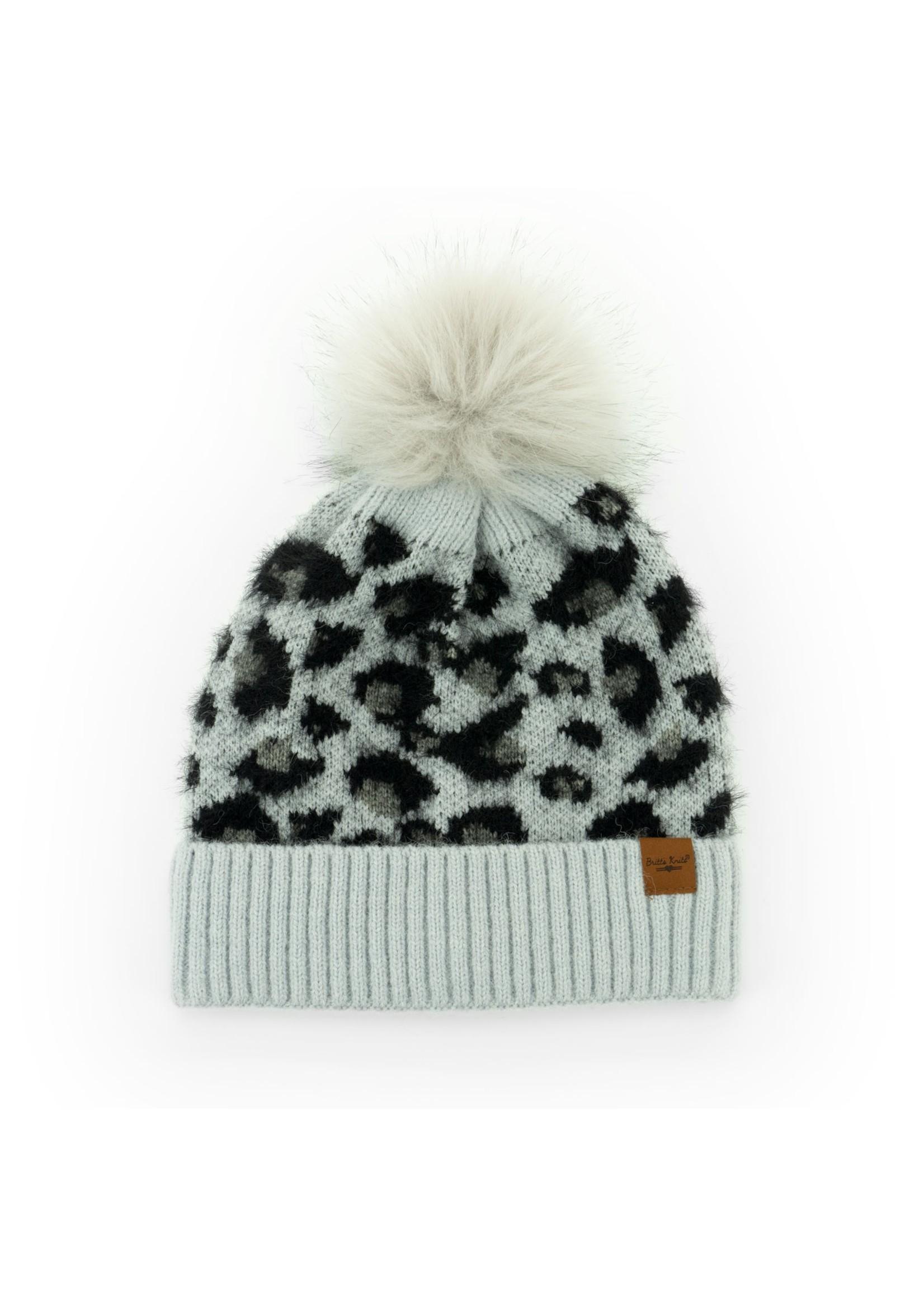 Britt's Knits Snow Leopard Pom Hat