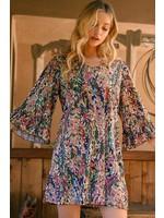 Jodifl Watercolor Floral Print Ruffle Sleeve Dress