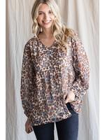 Jodifl Leopard Print Bubble Sleeve Baby Doll Top