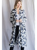 Jodifl Cow Print Long Body Cardigan