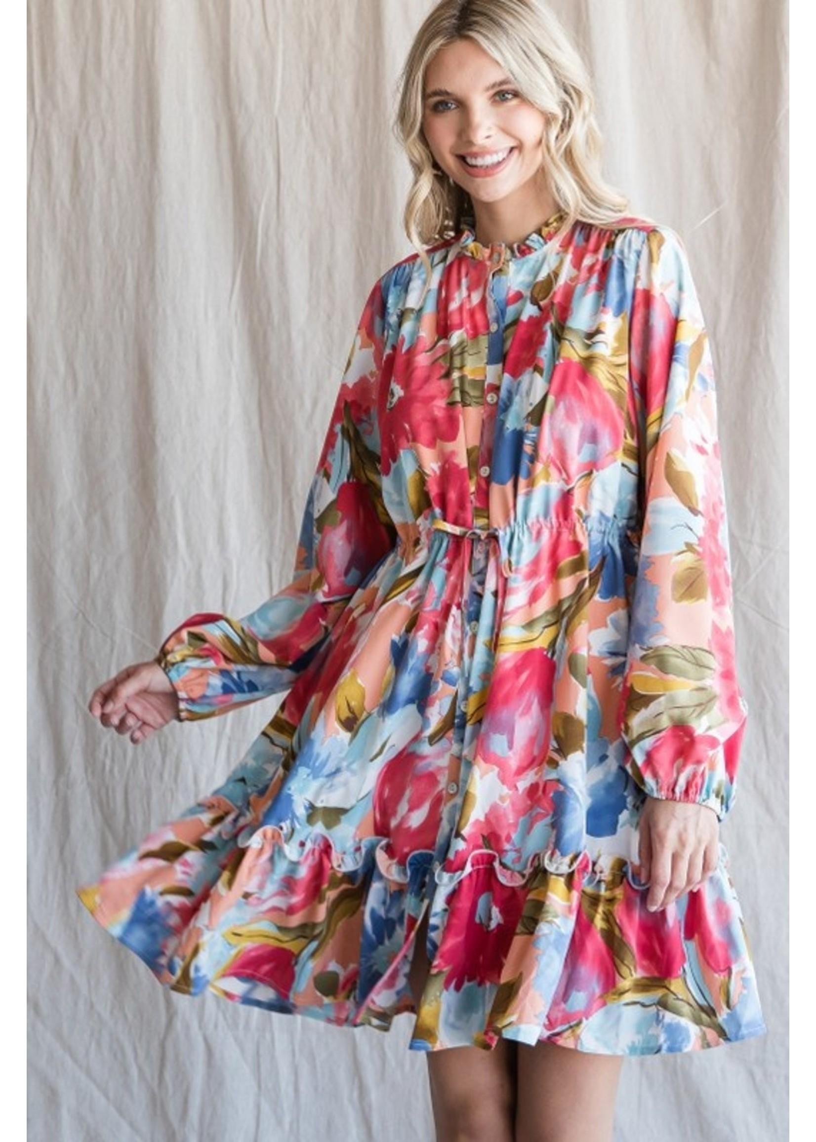 Jodifl Floral Print Button Up Drawstring Dress