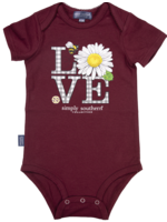 Simply Southern Collection Love Onesie - Maroon