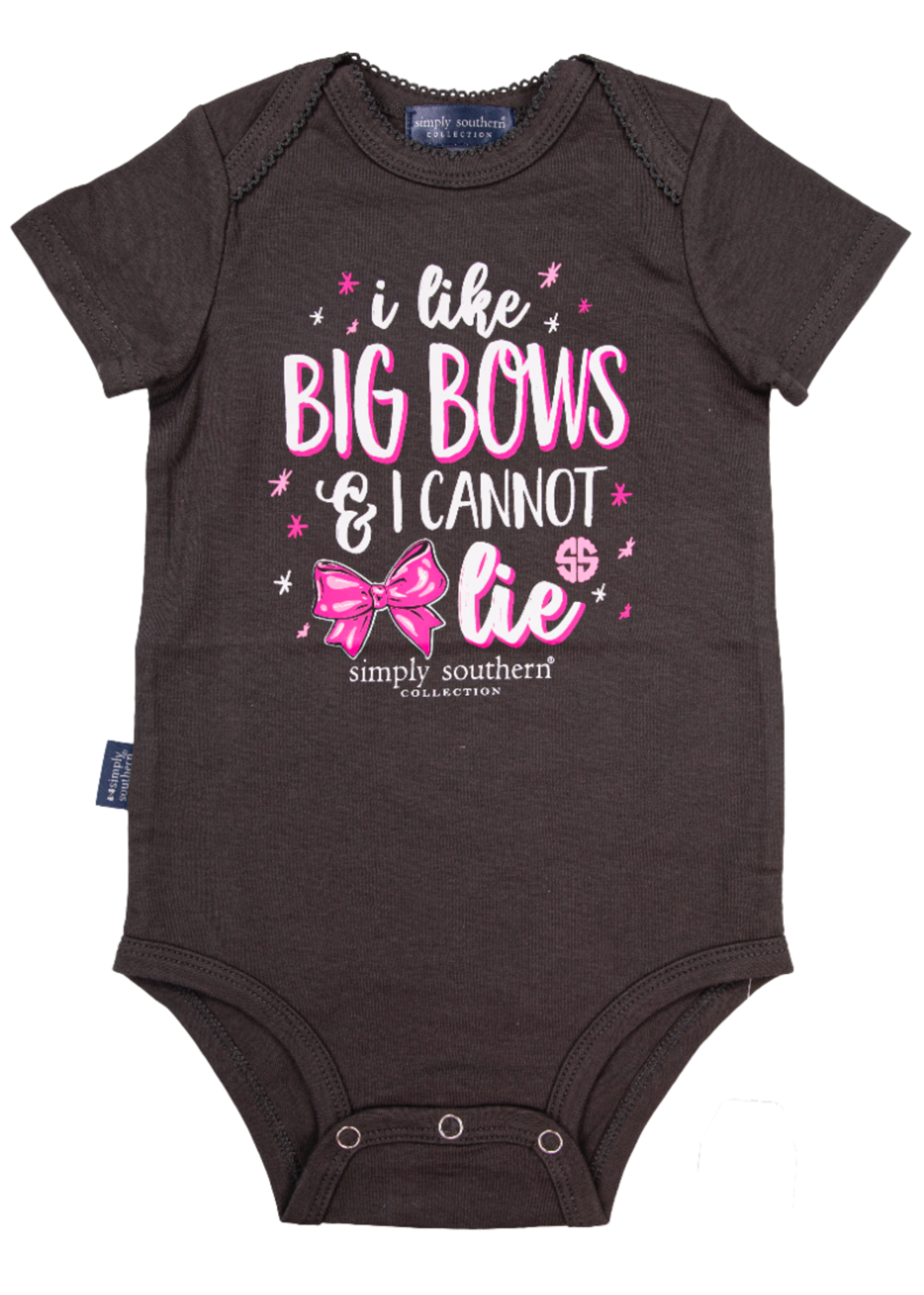 Simply Southern Collection I Like Big Bows & I Cannot  Lie Onesie - Grey