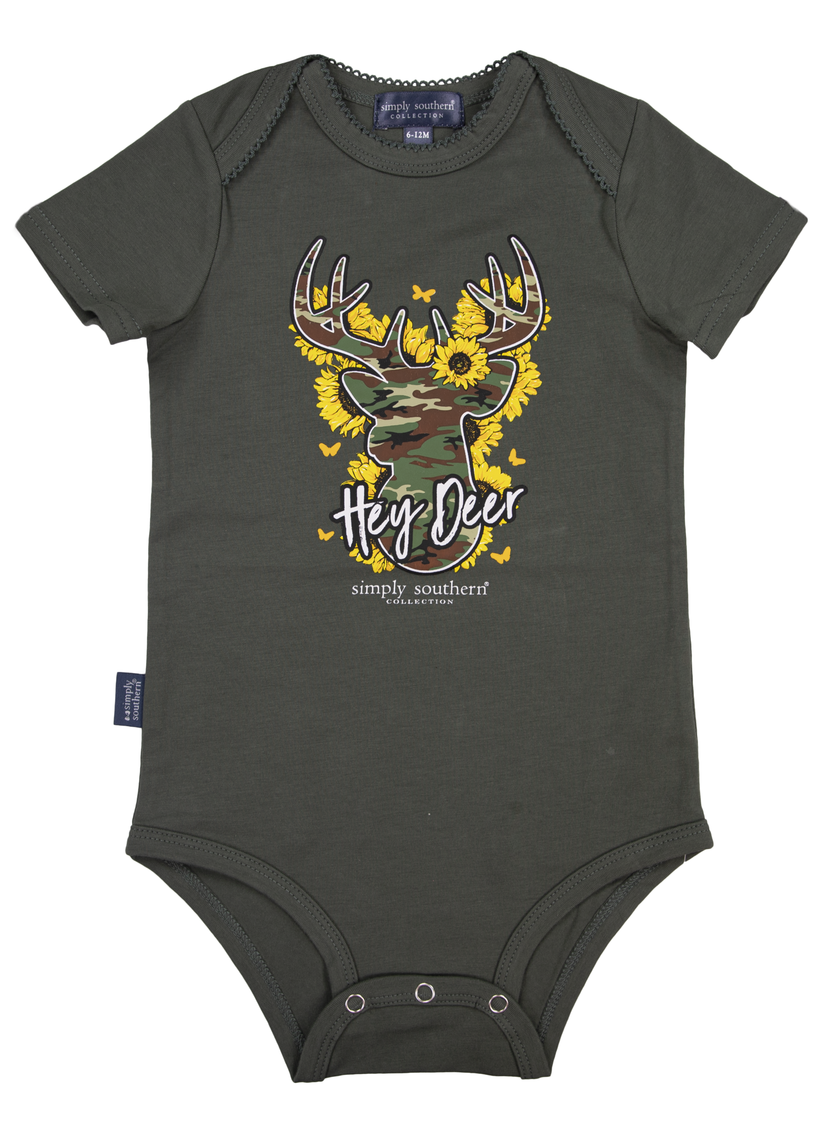 Simply Southern Collection Hey Deer Onesie - Olive