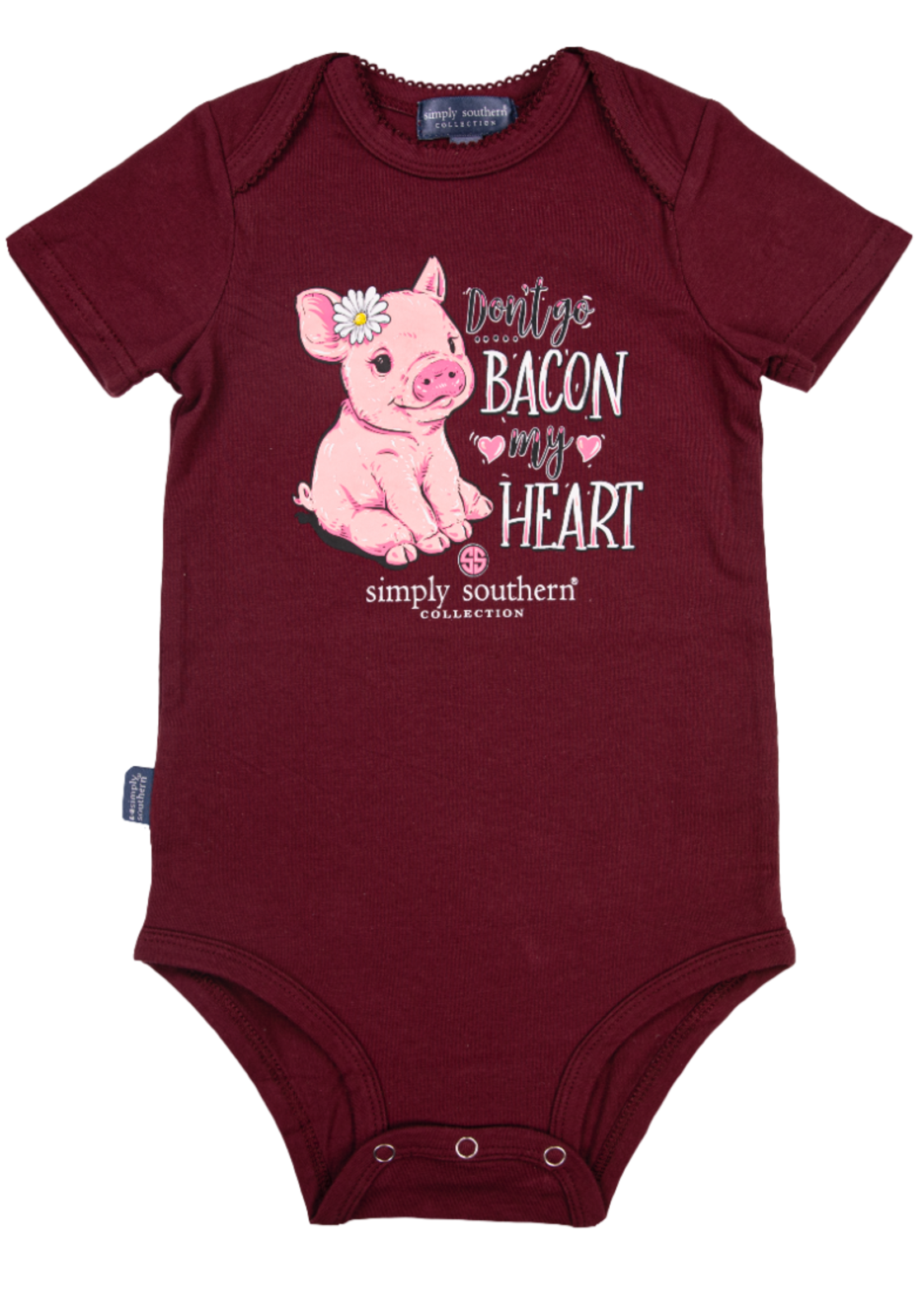 Simply Southern Collection Don't Go Bacon My Heart Onesie - Maroon