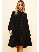 Ces Femme Long Sleeve Button-Front Mini Dress