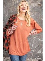 Kori America Stripe Mixed Sleeve Knit Top
