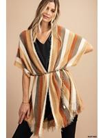 Kori America Stripe Hairy Yarn Sweater Poncho