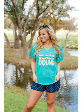 Jadelynn Brooke Jadelynn Brooke Beach Bound -V-Neck- Heather Sea Foam