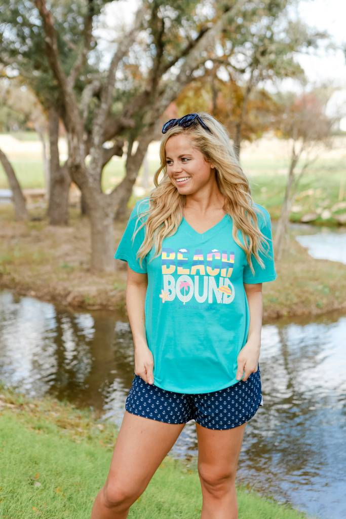 Jadelynn Brooke Jadelynn Brooke Beach Bound -V-Neck- Heather Sea Foam