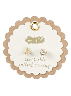 Mud Pie Mud Pie Chelsea Initial and Pave Stud Reversible Earrings
