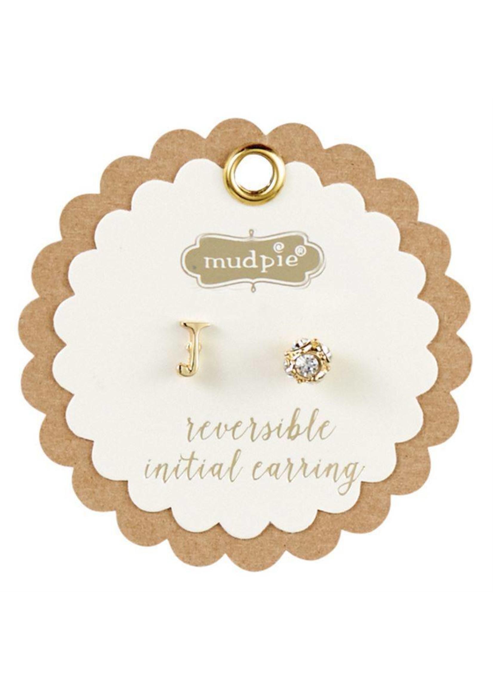 Mud Pie Chelsea Initial and Pave Stud Reversible Earrings