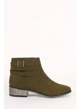 Suede Strappy Buckle Ankle Boots