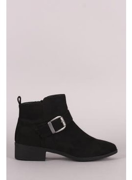 Suede Buckled Strap Ankle Boots