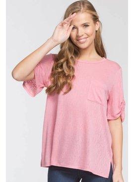 Cherish Cherish Knit Top w/Twist Sleeve