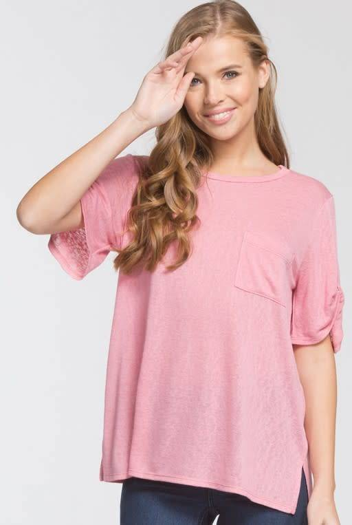 Cherish Cherish Knit Top w/Twist Sleeve