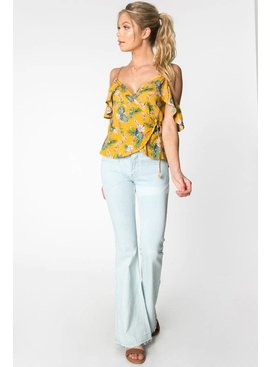 Everly EVERLY Cold Shoulder Wrap Top