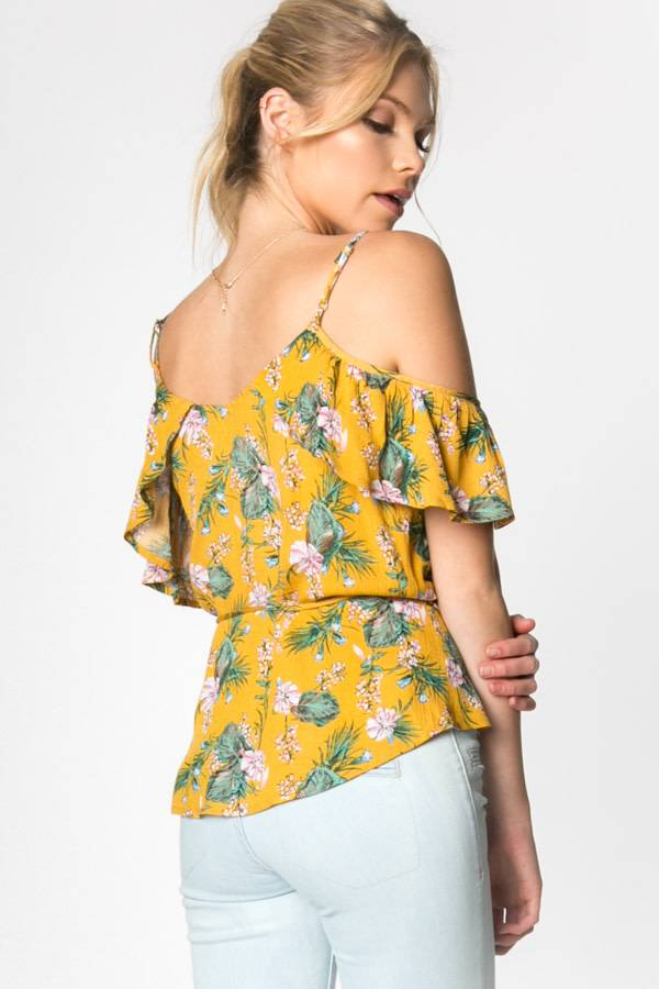 EVERLY Cold Shoulder Wrap Top