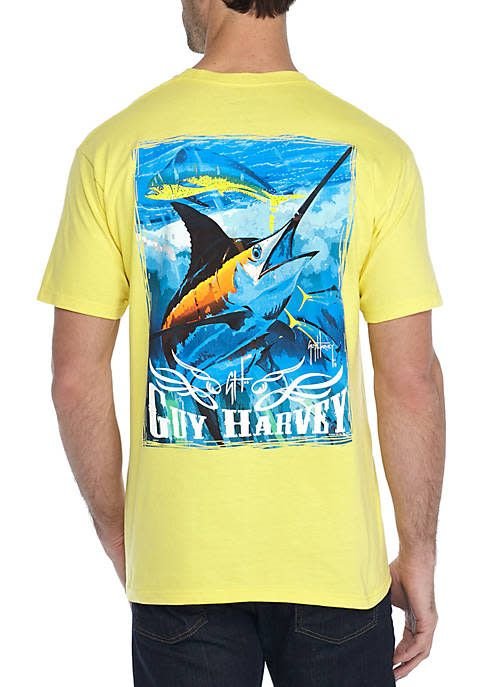 25d277bd55e7 Guy Harvey Blue And Dolphin Mens Short Sleeve Shirt - King Frog ...