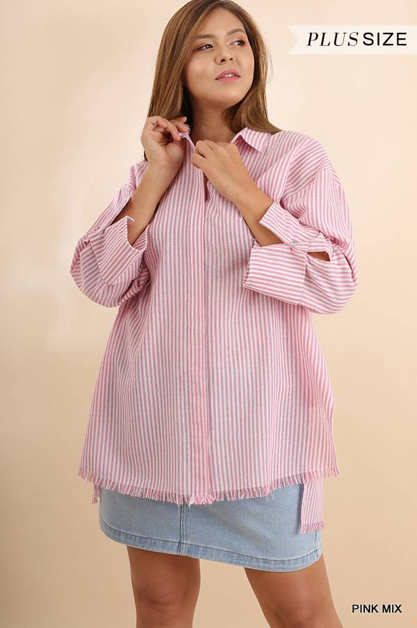 Umgee 3/4 Sleeve Striped Collared Top