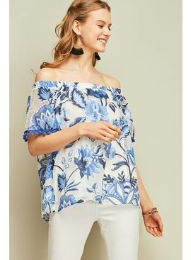 Entro Inc Floral print off-shoulder top