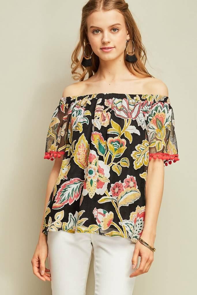 Entro Inc Floral print off-shoulder top