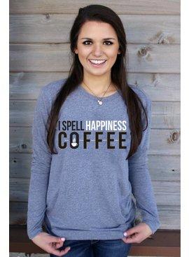 I SPELL HAPPINESS COFFEE (HEATHER GREY) - LONG SLEEVE