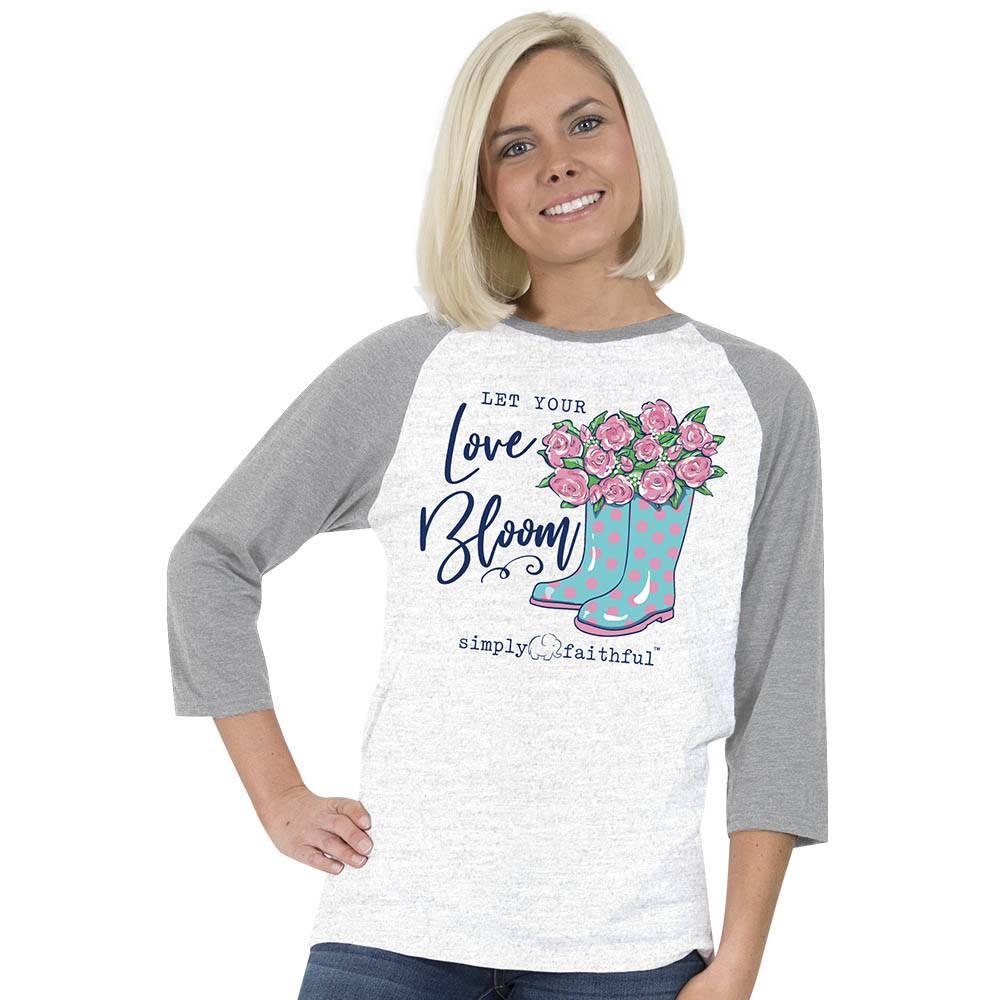 SIMPLY FAITHFUL® Let Your Love Bloom 3/4 Sleeve T-Shirt
